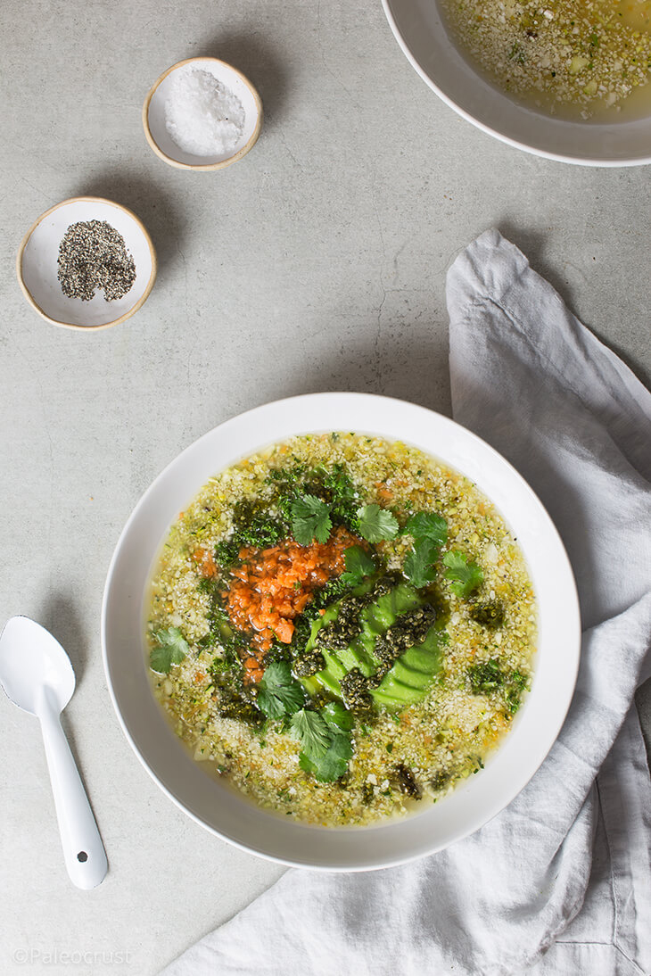 Healing broth with grander vegetable quinoa and hemp seed pesto, healing broth recipe, vegetable broth recipe, vegetable soup, Paleo Crust, soup recipe