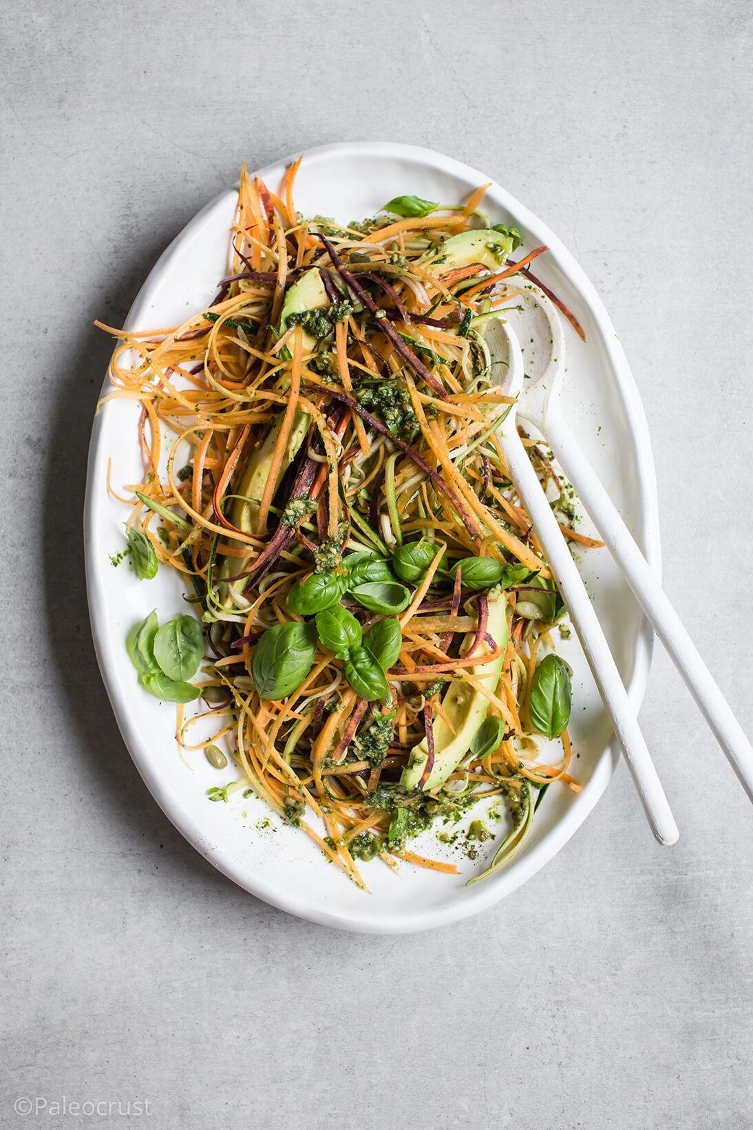 Paleo pasta, Paleo recipes, Raw pasta salad, raw pumpkin seed pesto, Vegan pumpkin seed pesto, dairy free pesto recipe, Paleo Crust, Salad recipes, Whole30 salad, i quit sugar, keto,